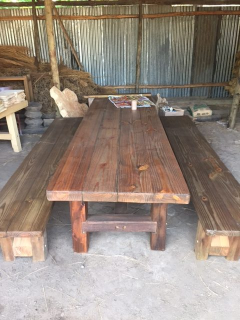 Cool Oregon Pine Table And Benches Rustic Timber And Garden Center Gmtry Best Dining Table And Chair Ideas Images Gmtryco