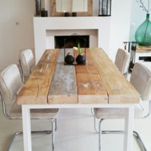 Rustic wooden tables with white metal legs 2