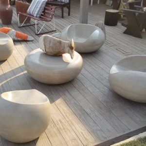 Concrete Bucket Chairs And Round Table